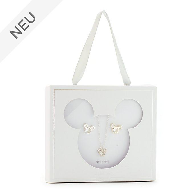 Disney Store - Micky Maus - Geburtssteinset mit Halskette und Ohrringen, April