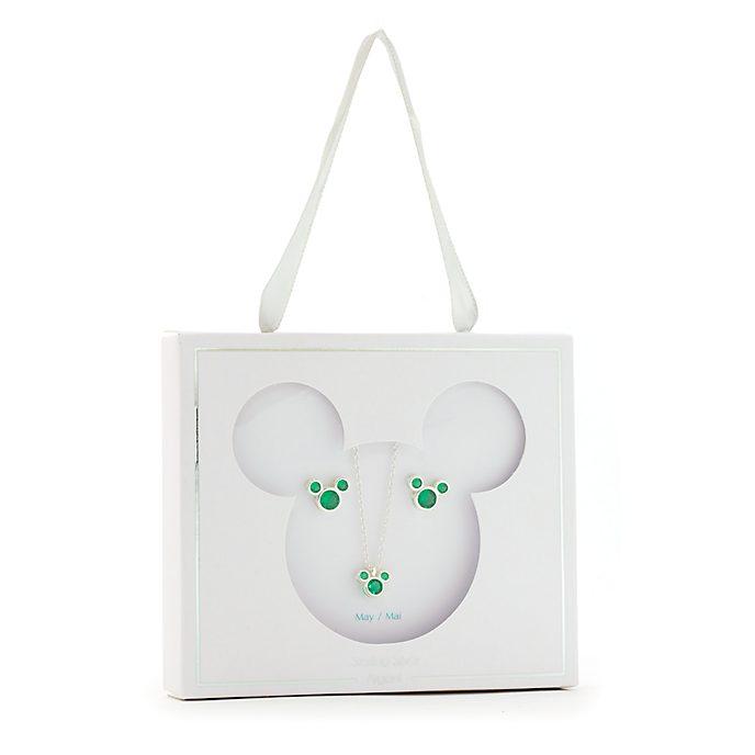 Conjunto collar y pendientes con piedra natalicia, mayo, Mickey Mouse, Disney Store