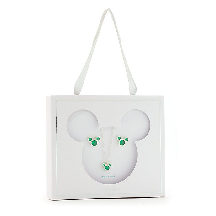 Set collana e orecchini con pietra del mese di maggio Topolino Disney Store