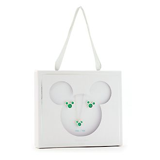Disney Store Mickey Mouse May Birthstone Necklace and Earrings Set