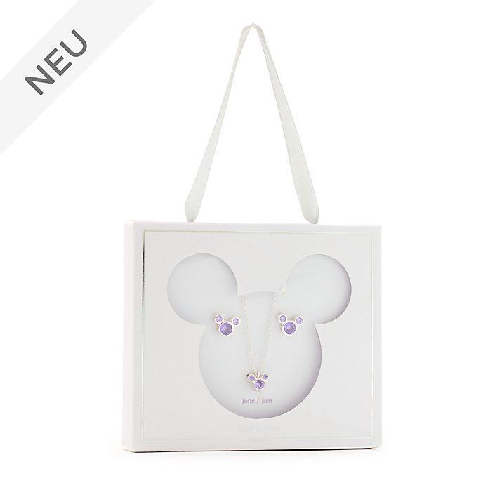 Disney Store - Micky Maus - Geburtssteinset mit Halskette und Ohrringen, Juni