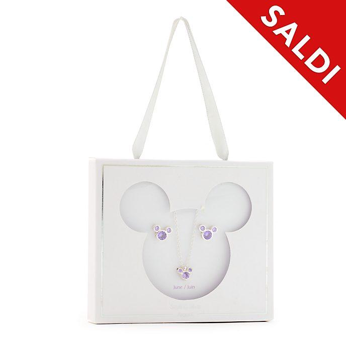 Set collana e orecchini con pietra del mese di giugno Topolino Disney Store
