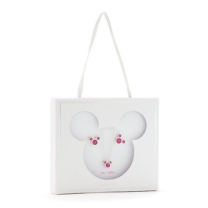 Conjunto collar y pendientes con piedra natalicia, julio, Mickey Mouse, Disney Store
