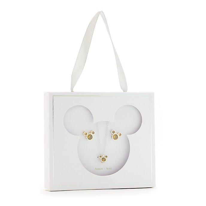 Disney Store Mickey Mouse August Birthstone Necklace and Earrings Set