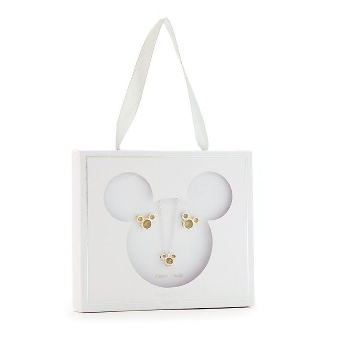 Conjunto collar y pendientes con piedra natalicia, agosto, Mickey Mouse, Disney Store