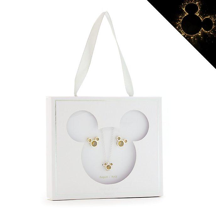 Set collana e orecchini con pietra del mese di agosto Topolino Disney Store