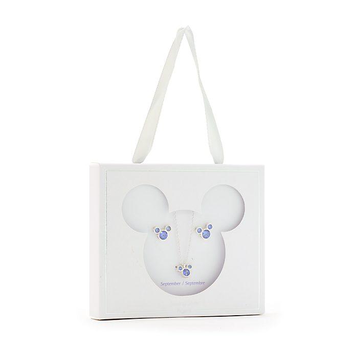 Conjunto collar y pendientes con piedra natalicia, septiembre, Mickey Mouse, Disney Store