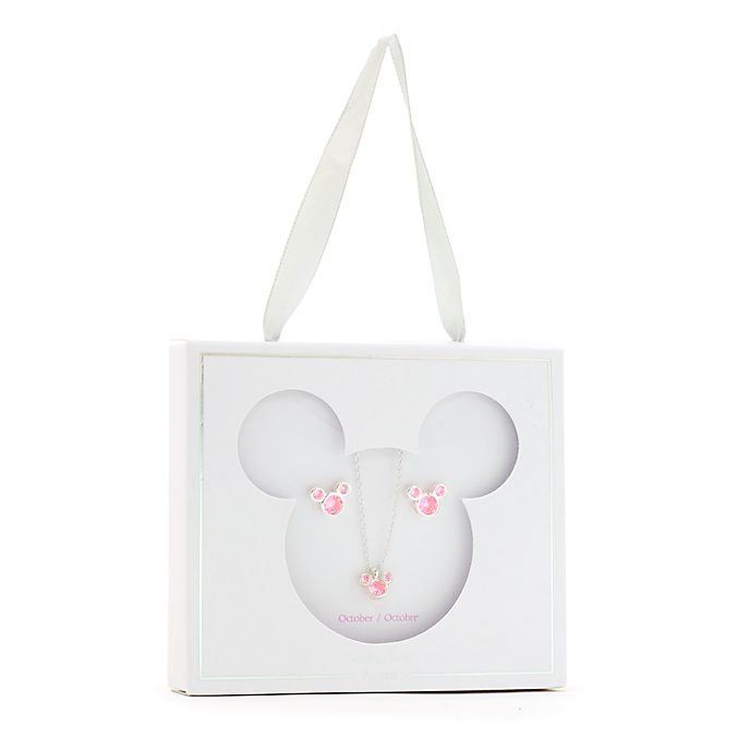 Conjunto collar y pendientes con piedra natalicia, octubre, Mickey Mouse, Disney Store