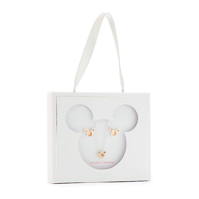 Conjunto collar y pendientes con piedra natalicia, noviembre, Mickey Mouse, Disney Store