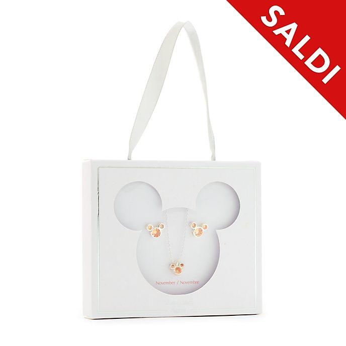 Set collana e orecchini con pietra del mese di novembre Topolino Disney Store