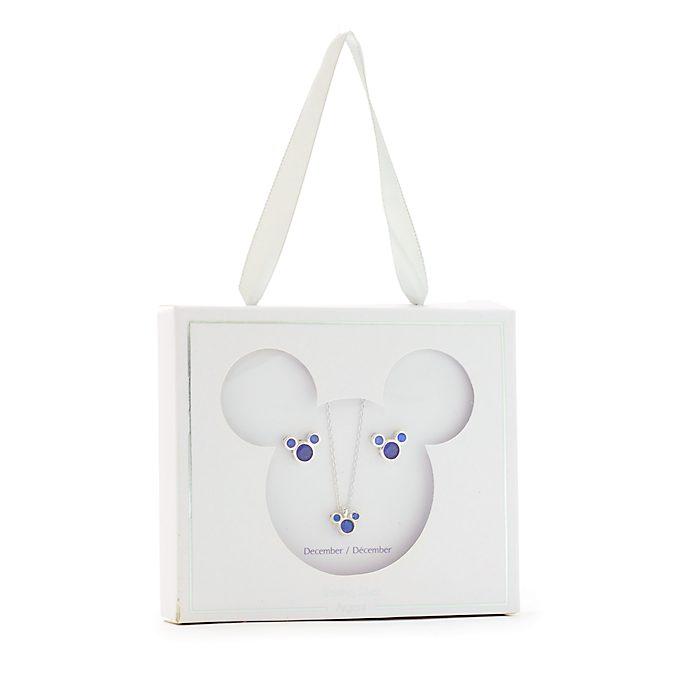 Conjunto collar y pendientes con piedra natalicia, diciembre, Mickey Mouse, Disney Store