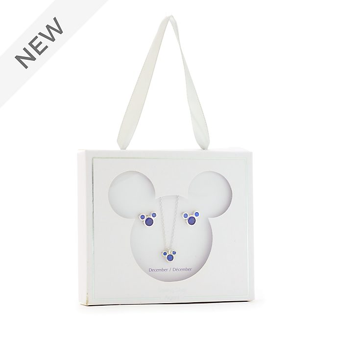 Disney Store Mickey Mouse December Birthstone Necklace and Earrings Set