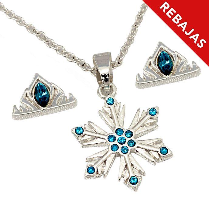 Conjunto collar y pendientes bañado en plata Elsa, Disney Store