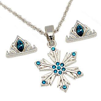 Disney Store Parure collier et clous d'oreilles Elsa plaquée argent