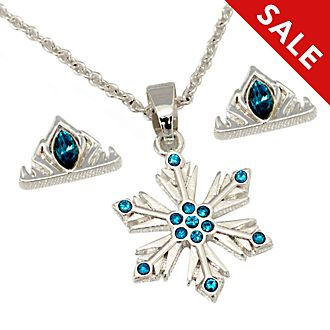 Disney Store Elsa Silver-Plated Necklace and Earrings Set