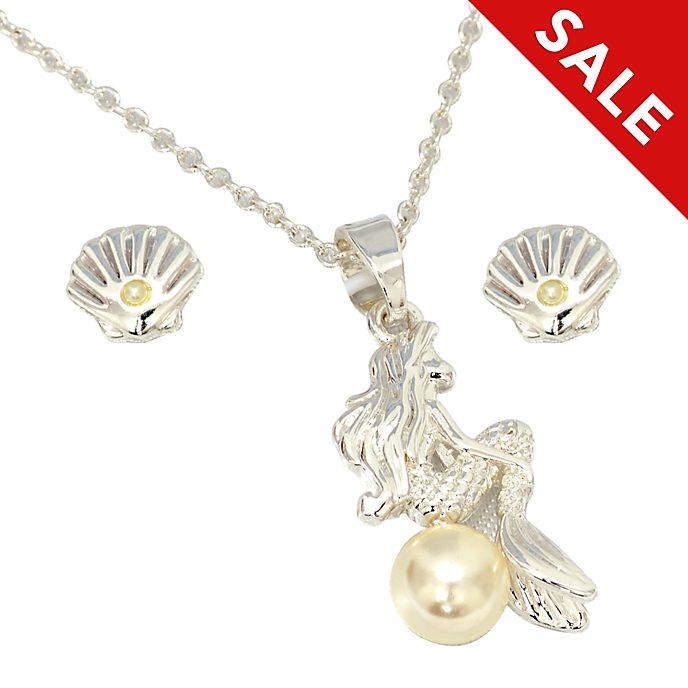 Disney Store - Arielle, die Meerjungfrau - Versilbertes Set aus Halskette und Ohrringen