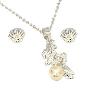 Disney Store Parure collier et clous d'oreilles La Petite Sirène plaquée argent