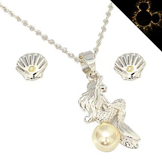 Set collana e orecchini placcati in argento La Sirenetta Disney Store