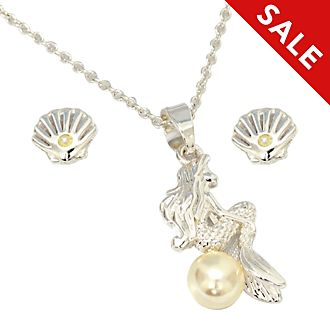 Disney Store The Little Mermaid Silver-Plated Necklace and Earrings Set