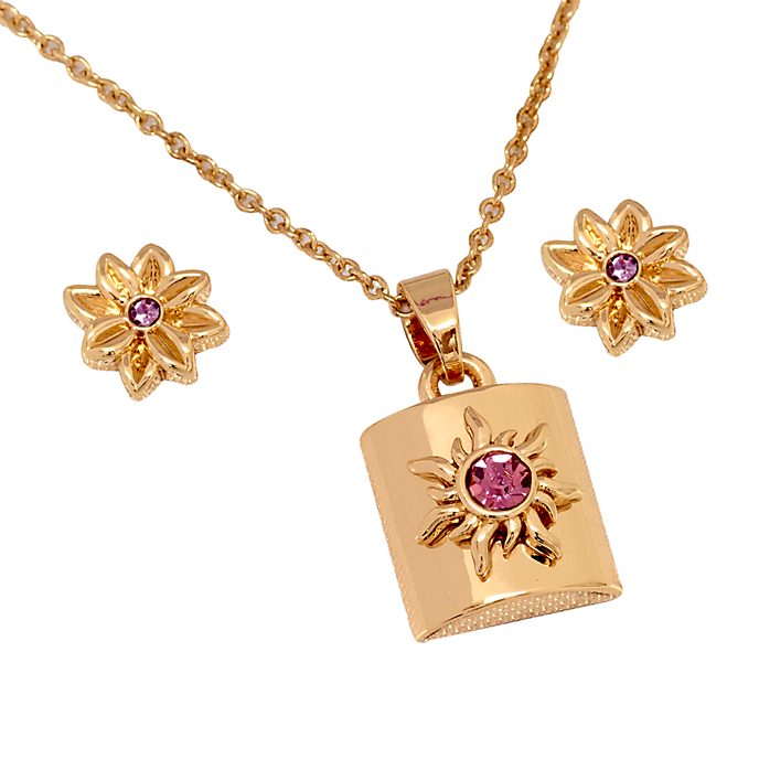 Conjunto pendientes y collar bañados en oro rosa Enredados, Disney Store