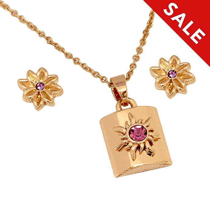 Disney Store Tangled Rose Gold-Plated Necklace and Earrings Set
