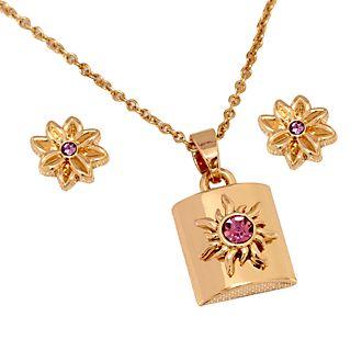 Disney Store Parure collier et clous d'oreilles Raiponce plaquée en or rose