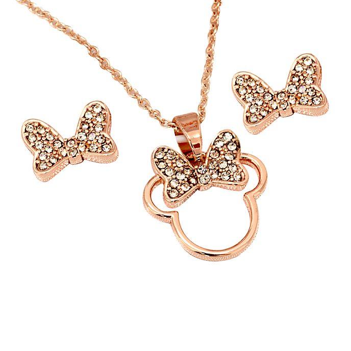 Disney Store - Minnie Maus - Rosévergoldetes Set aus Halskette und Ohrringen