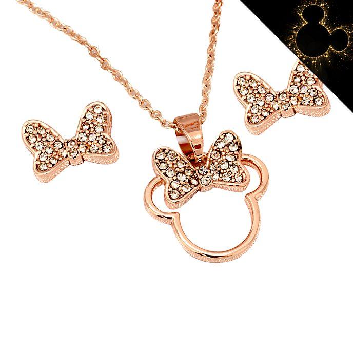 Disney Store Parure collier et clous d'oreilles Minnie plaquée en or rose
