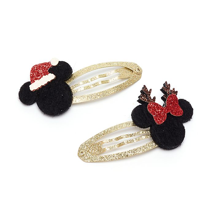 Disney Store Mickey And Minnie Holiday Cheer Hair Clips, Pack of 2