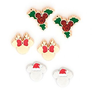 Pendientes botón Mickey y Minnie, Holiday Cheer, Disney Store (3 u.)