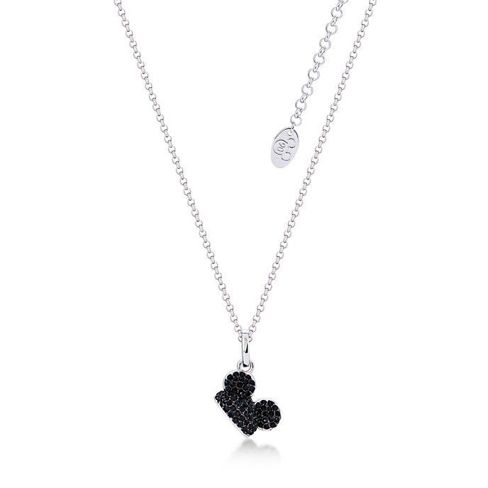 Collar Mickey Mouse bañado en oro blanco con cristales en negro, Couture Kingdom