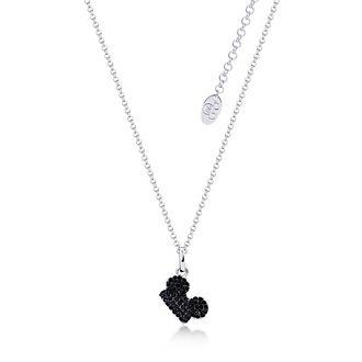 Collana placcata oro bianco con cristalli neri Topolino, Couture Kingdom