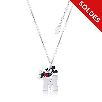Couture Kingdom Collier plaqué or blanc à pendentif Mickey Mouse