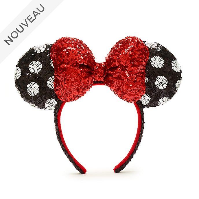 Walt Disney World Serre-tête à oreilles de Minnie avec sequins rouges, noirs et blancs pour adultes