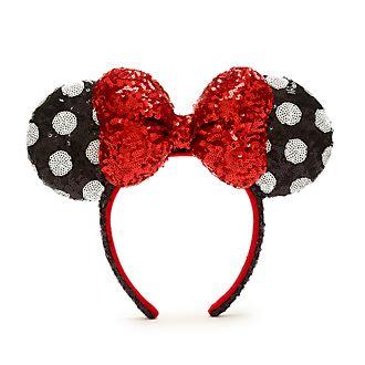 Cerchietto adulti orecchie con paillettes Minni rosso, nero e bianco Walt Disney World