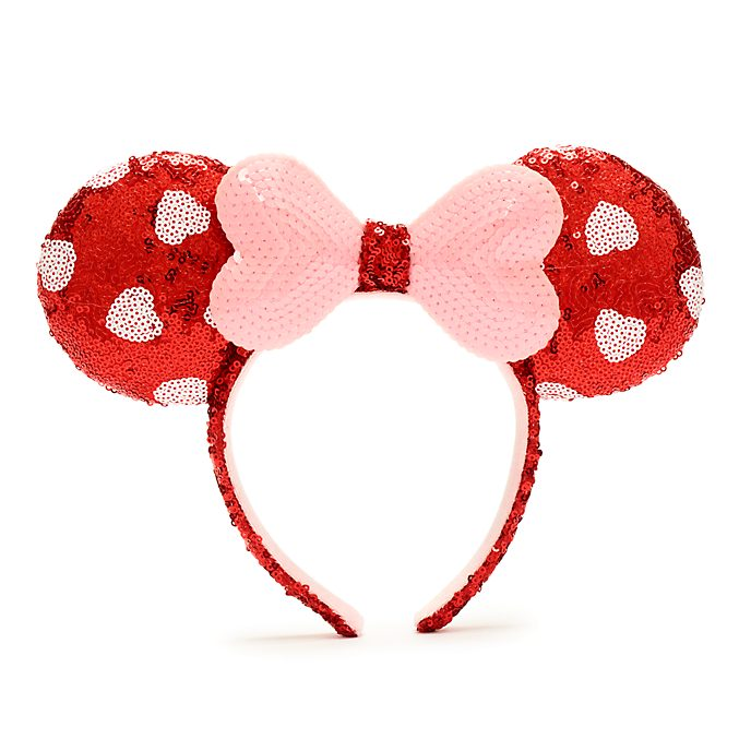 Walt Disney World Minnie Mouse Pink and Red Sequin Ears Headband For Adults