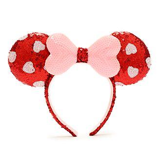 Walt Disney World - Minnie Maus - paillettenbesetzter Haarreif in Pink und Rot mit Ohren für Erwachsene