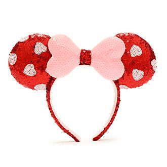 Walt Disney World diadema con orejas y lentejuelas rosas y rojas Minnie Mouse para adultos