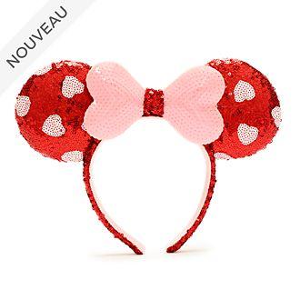 Walt Disney World Serre-tête à oreilles de Minnie avec sequins roses et rouges pour adultes