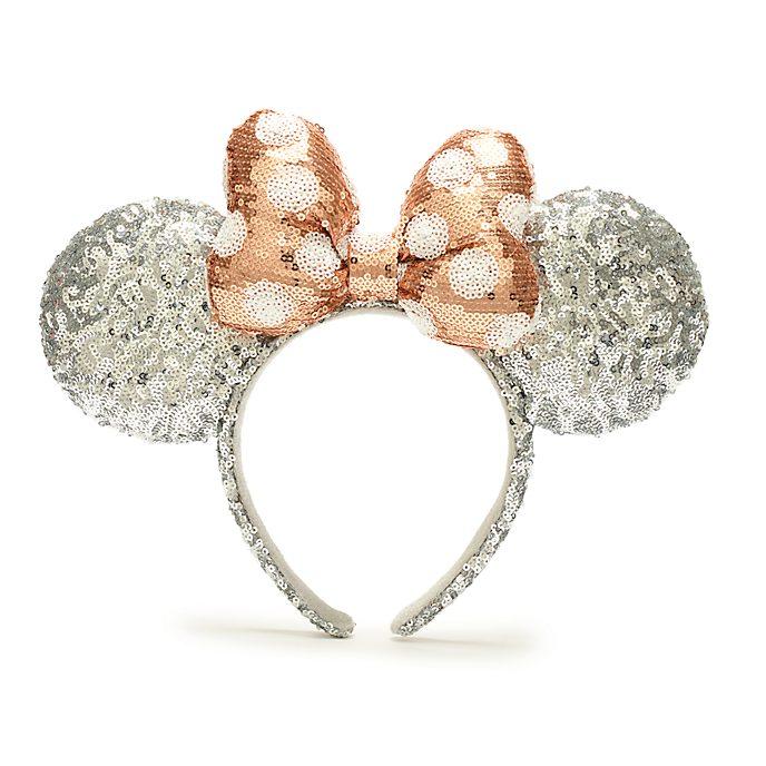 Diadema con orejas Minnie Mouse para adultos, lazo con lentejuelas rosa dorado y plateado, Walt Disney World