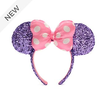 Walt Disney World Minnie Mouse Pink and Purple Sequin Ears Headband For Adults