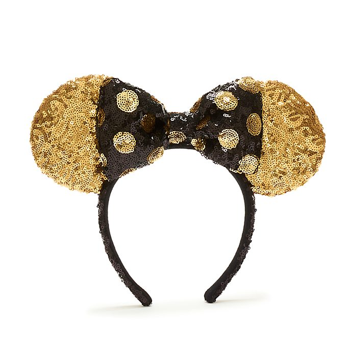 Diadema con orejas Minnie Mouse para adultos, lentejuelas negras y doradas, Walt Disney World