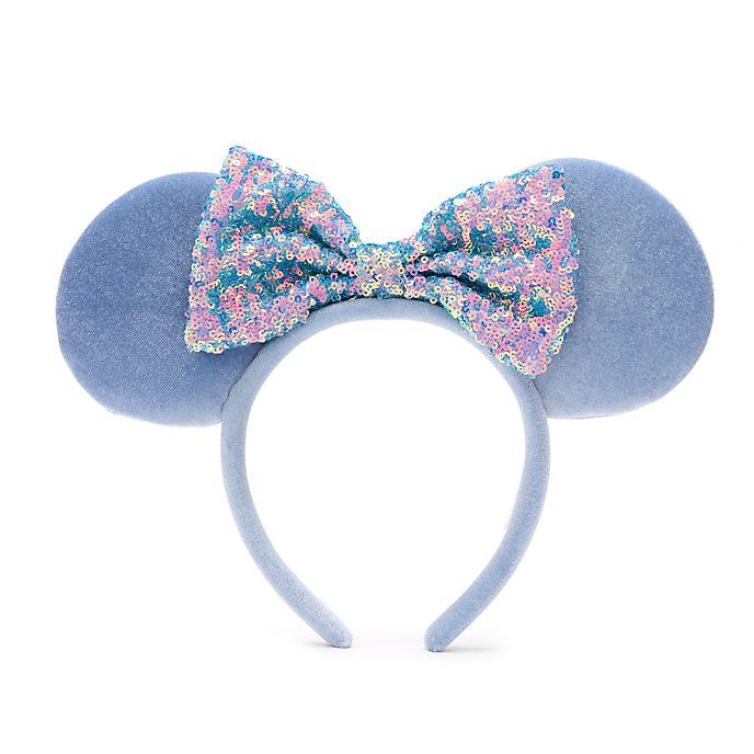 Walt Disney World Minnie Mouse Cornflower Blue Sequin Ears Headband For Adults