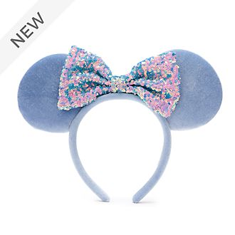 Walt Disney World Minnie Mouse Cornflower Blue Sequin Ears Headband For Adults
