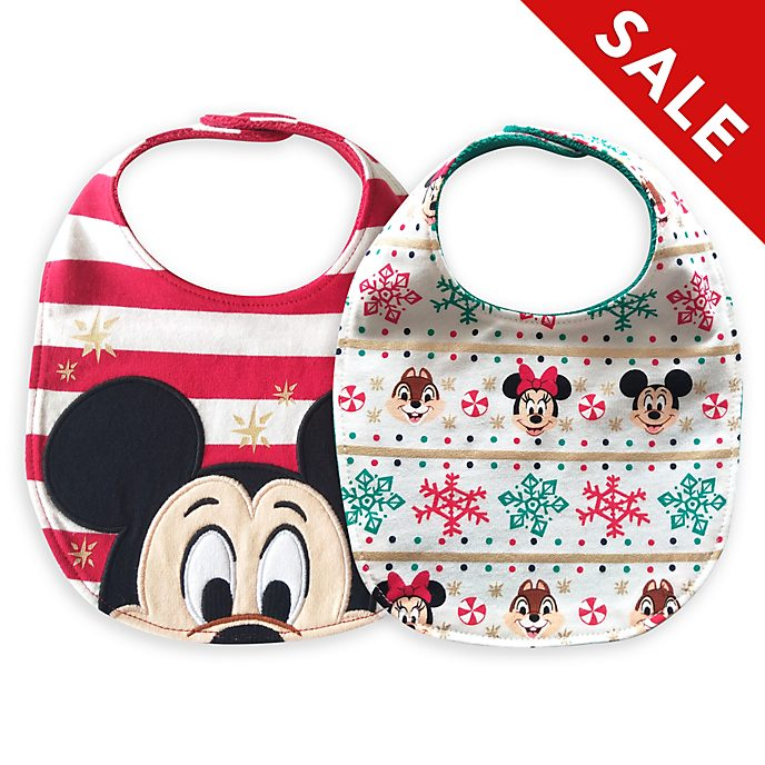 Disney Store Mickey and Friends Holiday Cheer Baby Bibs, 2 Pack