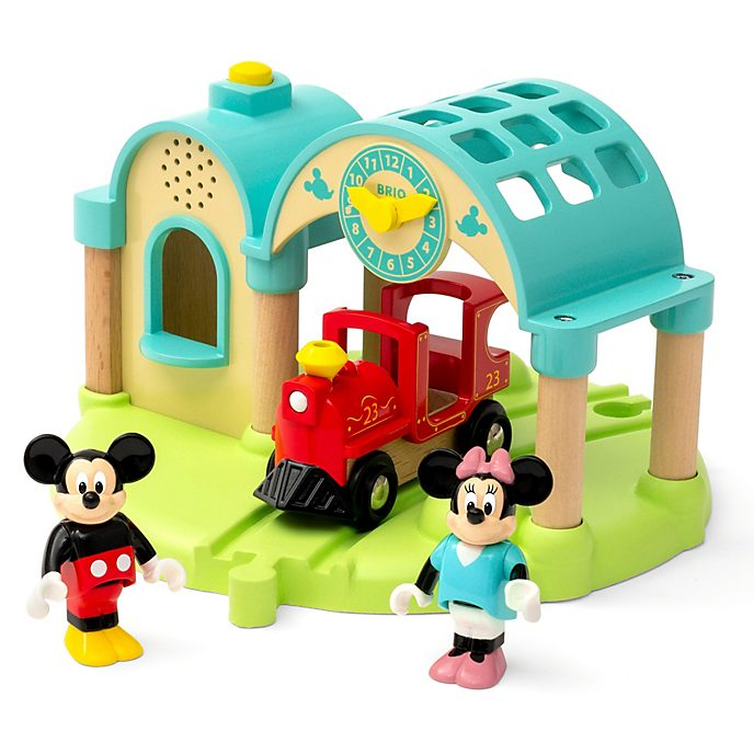 Set estación tren juguete graba y reproduce Mickey y Minnie, Brio