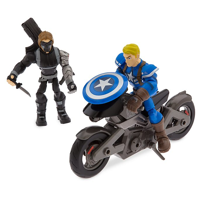Disney Store Marvel Toybox Captain America Motorcycle Playset