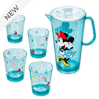 Disney Store Mickey and Minnie Disney Eats Pitcher and Cups Set