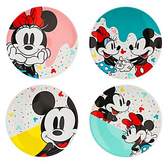 Disney Store Lot de 4assiettes Mickey et Minnie, Disney Eats
