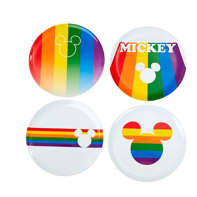 Funko Lot de 4assiettes arc-en-ciel Mickey